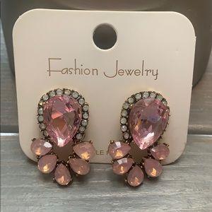Pink/Silver Evening Drop Earrings Elegant